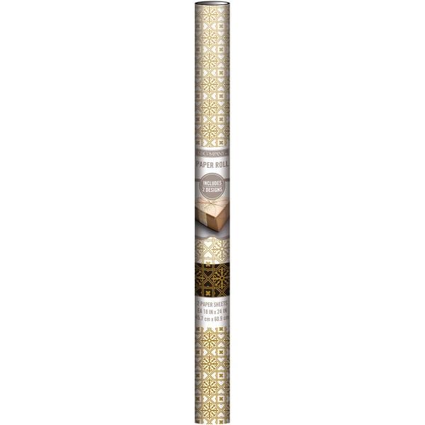 Decorative Paper Sheets 18inX24in 3/Pkg Art Deco Gold Foil