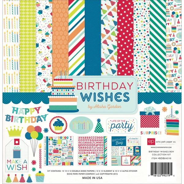 Echo Park Collection Kit 12inX12inBirthday Wishes Boy