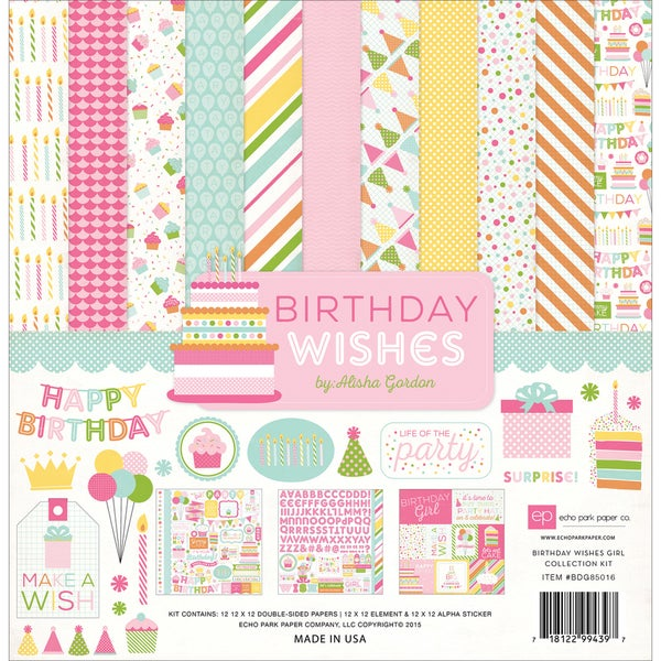 Echo Park Collection Kit 12inX12inBirthday Wishes Girl