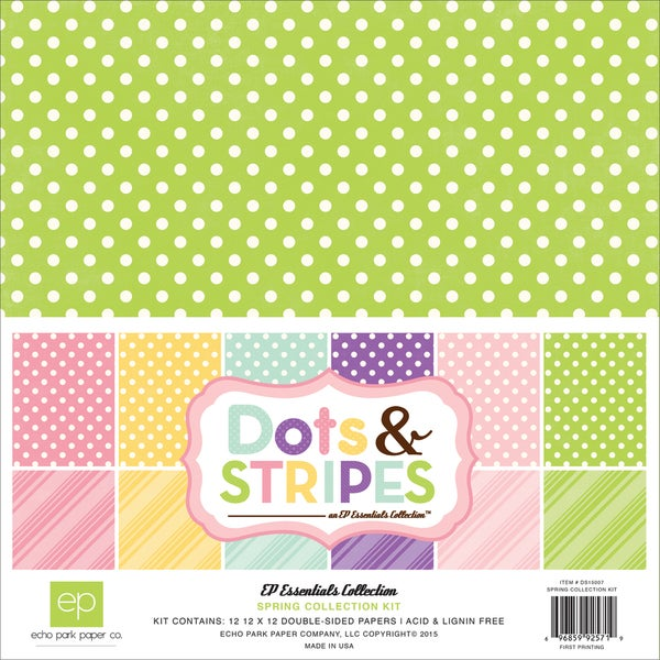 Echo Park Collection Kit 12inX12inSpring Dots & Stripes