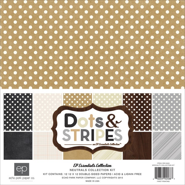 Echo Park Collection Kit 12inX12inNeutrals Dots & Stripes