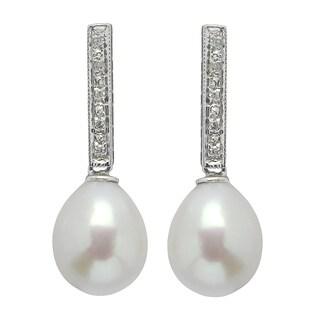 Pearls For You 14k White Gold Freshwater Pearl 1/10ct TDW Diamond Earrings (8-9 mm) (H-I, I1-I2)