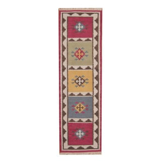 Herat Oriental Indo Hand-woven Vegetable Dye Tribal Kilim Red/ Ivory Wool Rug (2'4 x 8'2)