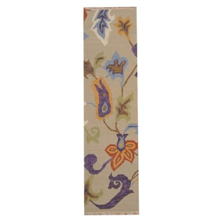 Herat Oriental Indo Hand-woven Vegetable Dye Tribal Kilim Beige/ Orange Wool Rug (2'5 X 8'2)