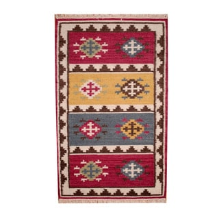 Herat Oriental Indo Hand-woven Vegetable Dye Tribal Kilim Red/ Ivory Wool Rug (3' x 5')