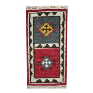Herat Oriental Indo Hand-woven Vegetable Dye Tribal Kilim Red/ Ivory Wool Rug (1'8 x 3'3)