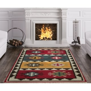 Herat Oriental Indo Hand-woven Vegetable Dye Tribal Kilim Red/ Ivory Wool Rug (4'6 x 6'6)