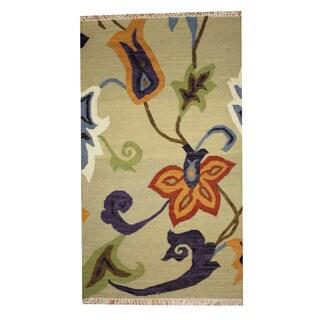 Herat Oriental Indo Hand-woven Vegetable Dye Tribal Kilim Light Green/ Orange Wool Rug (3' x 5')