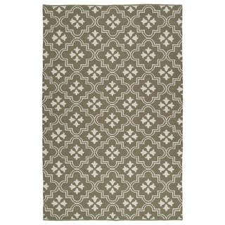 Indoor/Outdoor Laguna Dark Taupe and Ivory Tiles Flat-Weave Rug (9'0 x 12'0)