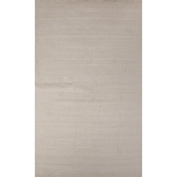 Formal Solid Pattern Vaporous grey/Vaporous grey Wool 5' x 8' Area Rug