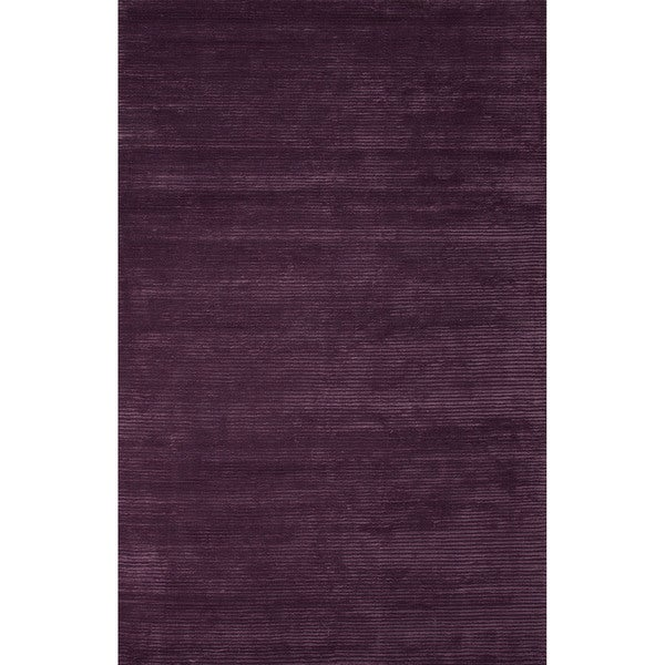 Formal Solid Pattern Damson/Damson Wool 8' x 10' Area Rug