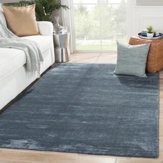 Formal Solid Pattern Moonlight blue/Moonlight blue Wool 8' x 10' Area Rug