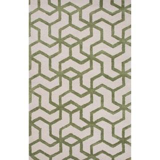 Novelty Geometric Pattern Birch/Green eyes Wool 9' x 12' Area Rug