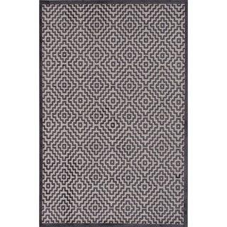 "Novelty Geometric Pattern Light grey/Plum kitten Chenille 7'6"" x 9'6"" Area Rug"
