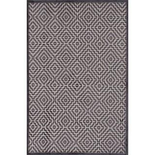 Novelty Geometric Pattern Light grey/Plum kitten Chenille 9' x 12' Area Rug