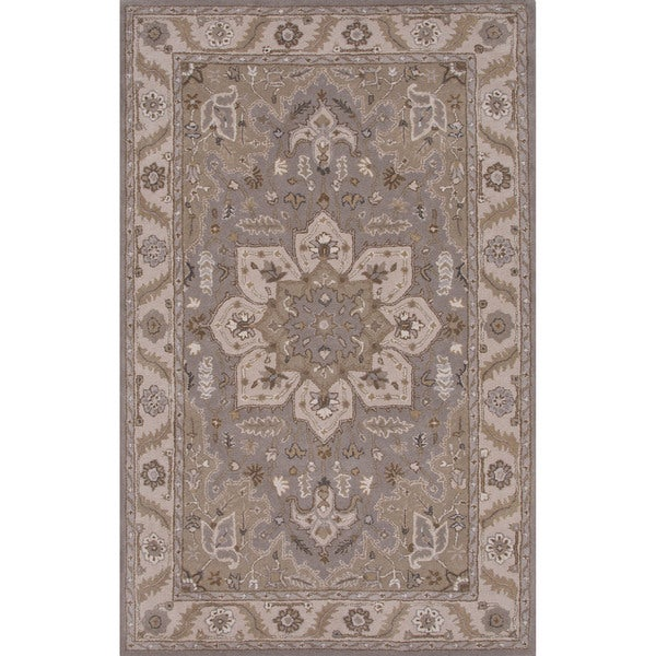 Classic Oriental Pattern Drizzle/Spray green Wool 8' x 10' Area Rug