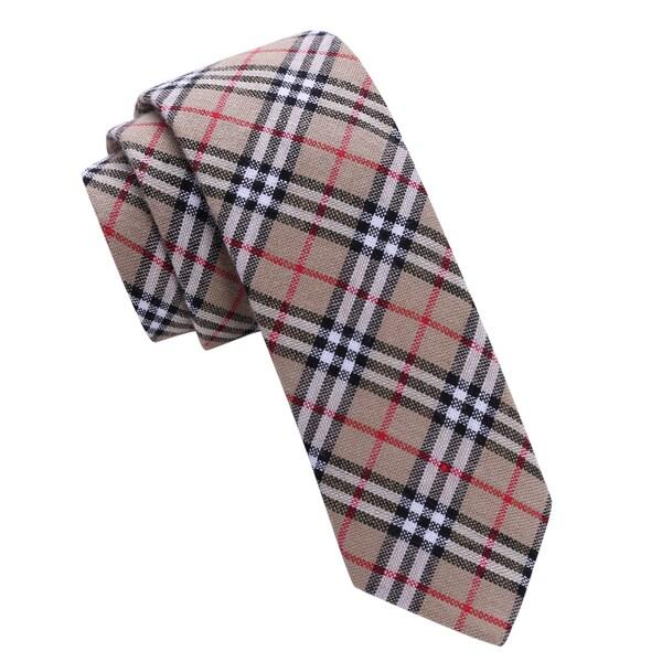 Skinny Tie Madness Men's Beige Plaid Skinny Tie