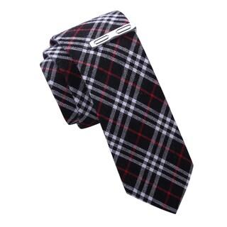 Skinny Tie Madness Men's Black Plaid SkinnyTtie with Tie Clip