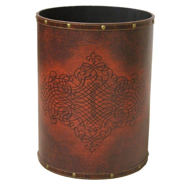 Faux Leather Antique Design Waste Bin