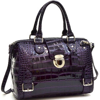Dasein Patent Barrel Body Satchel with Shoulder Strap