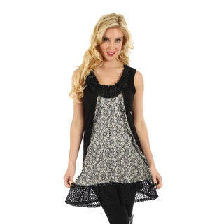 Women's Black Beige Sleeveless Lace Top with Floral Accent Neckline