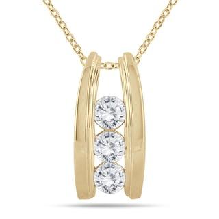 Marquee Jewels 14k Yellow Gold 1ct TDW Diamond Ladder 3-stone Necklace (I-J, I2-I3)