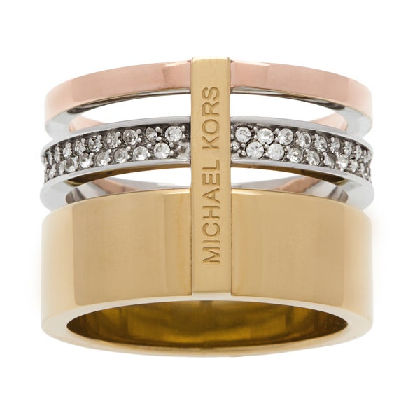 Michael Kors Brilliance Pave Tri Tone Barrel Ring