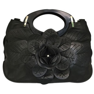NB-182 Black/Black Flower Handbag