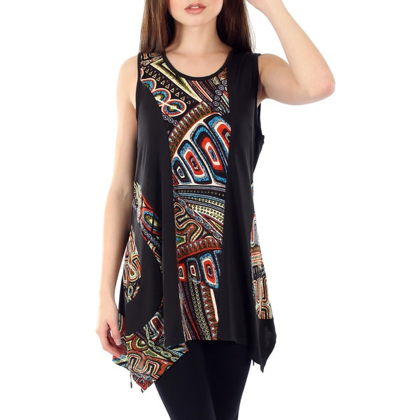 Women's Black Multi Sleeveless Sidetail Top