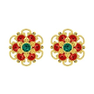 Lucia Costin Gold Over Sterling Silver Green/ Red Crystal Earrings