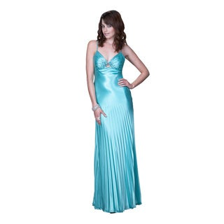 Women's Teal V-neck Open Back Satin Evening Gown