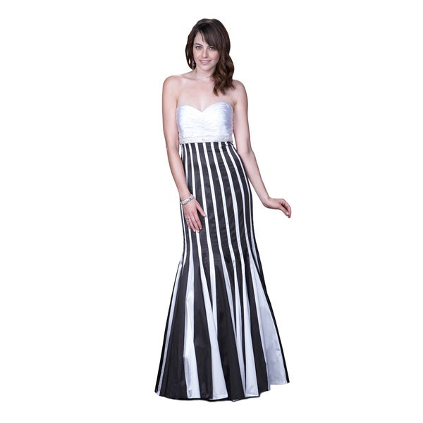 Women's Satin Black/ White Mermaid Gown