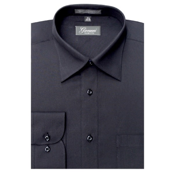 Giovanni Men's Black Convertible Cuff Dress Shirt