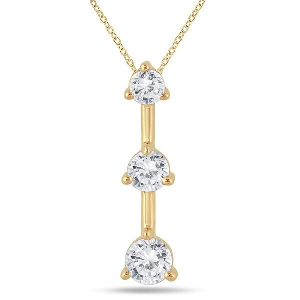 10k Yellow Gold 1/2ct TDW Diamond 3-stone Drop Pendant (I-J, I2-I3)