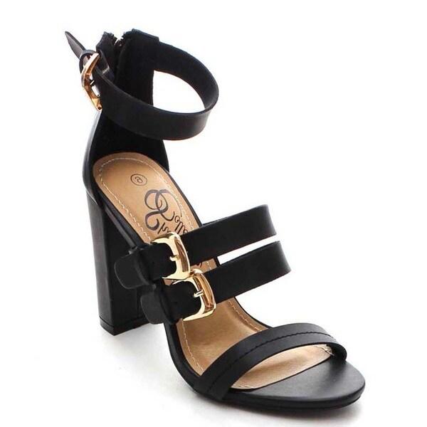 Shake Belle Women's Back Zipper Ankle Strap Chunky Heels