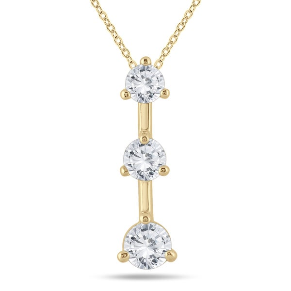 14k Yellow Gold 1ct TDW Diamond 3-stone Drop Pendant (I-J, I2-I3)