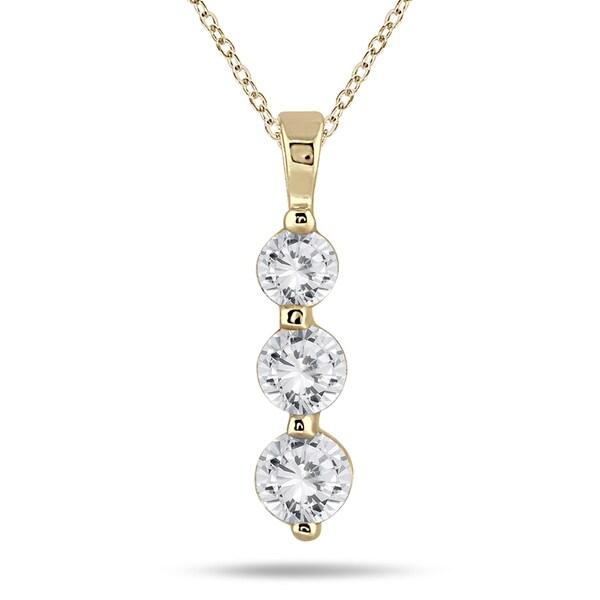 Marquee Jewels 14k Yellow Gold 1ct TDW Diamond Graduated 3-stone Pendant (I-J, I2-I3)