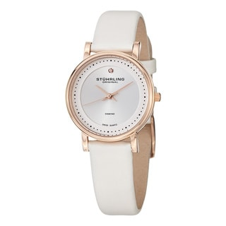 Stuhrling Original Women's Ascot Swiss Quartz Diamond Leather Strap Watch Set