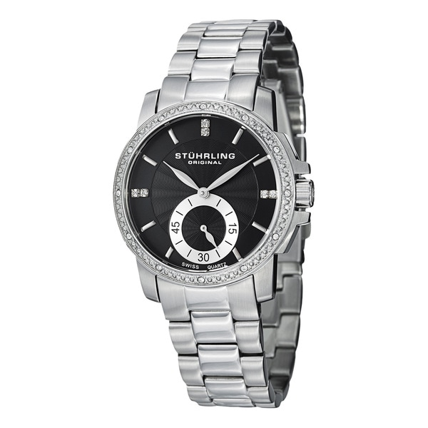 Stuhrling Original Women's Lady Regency Swiss Quartz Swarovski Crystal Stainless Steel Bracelet Watch