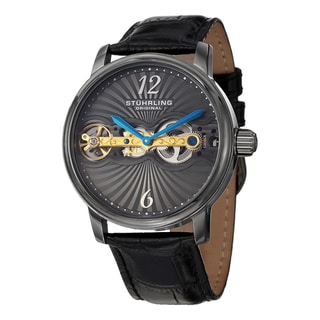 Stuhrling Original Men's Doppler Mechanical Leather Strap Watch