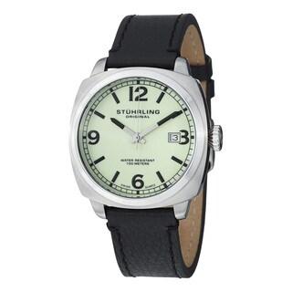 Stuhrling Original Men's Eagle Square Swiss Quartz Leather Strap Watch