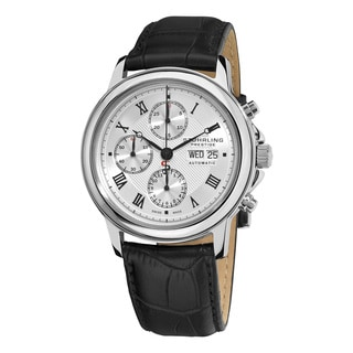 Stuhrling Prestige Men's Accolade Automatic Swiss Chronograph Leather Strap Watch