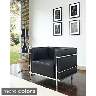 Charles Grande Leather and Steel Modern Armchair