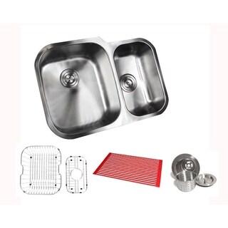 Ariel Pearl Satin 29-inch Stainless Steel Undermount 60/40 Offset Double Bowl Kitchen Sink Kit
