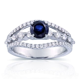 Annello 14k White Gold Round Blue Sapphire and 5/8ct TDW 3-Row Split Shank Diamond Engagement Ring (H-I, I1-I2)