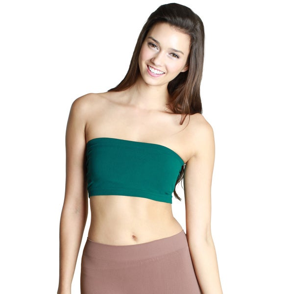 Nikibiki Women's Seamless Green/ Grey Bandeau Top