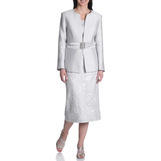 Giovanna Signature Women's 3-piece Silver Skirt Suit