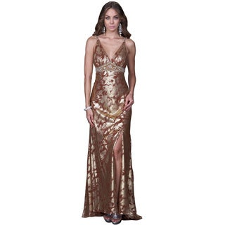 Women's Open Back Brushed Gold Evening Gown