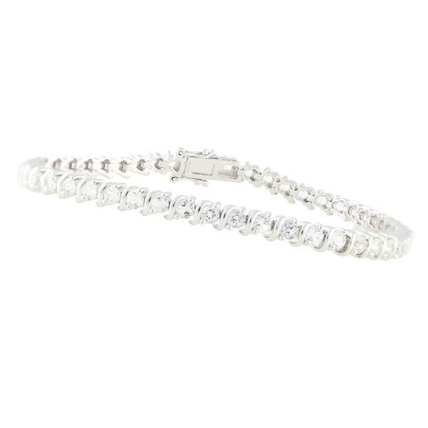 Rhodium over Sterling Silver White Topaz Tennis Bracelet