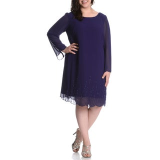 S.L. Fashions Women's Plus Size Beaded Overlay Dress